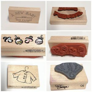 3 PC NEW BABY Boutique Wood Rubber Stamps Lot